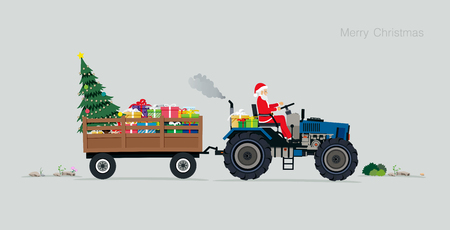 Santa driving a tractor With gift boxes and Christmas trees. Illustration