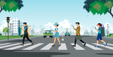 Citizens and businessmen use the phone while walking across the street.