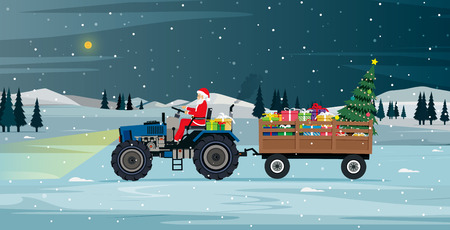 Santa driving a tractor carrying gifts and Christmas tree. Illustration