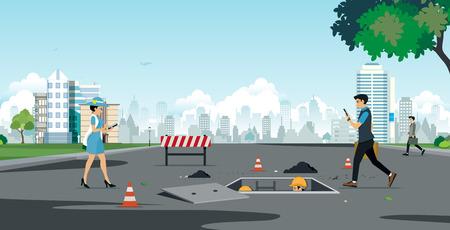 An accident that will happen to employees walking the phone. Illusztráció