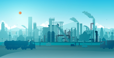 Industrial factory with a sky as a backdrop. Ilustracja