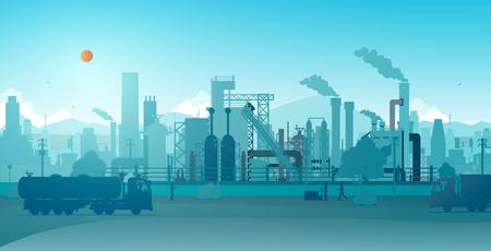 Industrial factory with a sky as a backdrop. Illusztráció