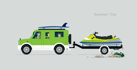 The family drives a summer tour with a jet ski rickshaw. Ilustracja
