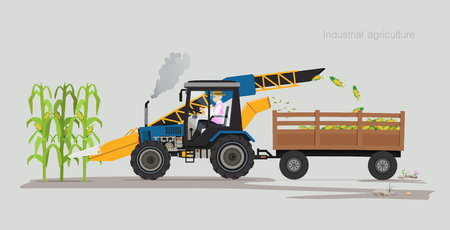 Farmers are harvesting agricultural products using machines. Ilustracja