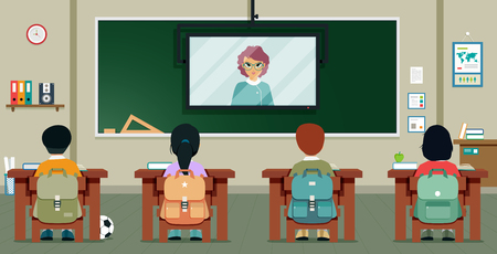 Students are studying from teachers who teach via television.