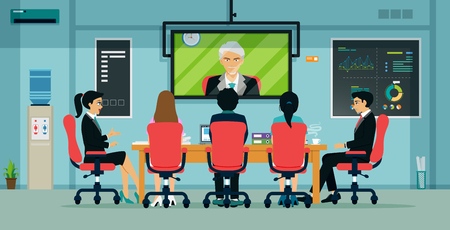 Businessmen and employees have meetings via video conferencing. Ilustracja