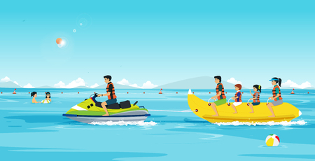Families are playing Banana Boat and Jet Ski. Ilustracja