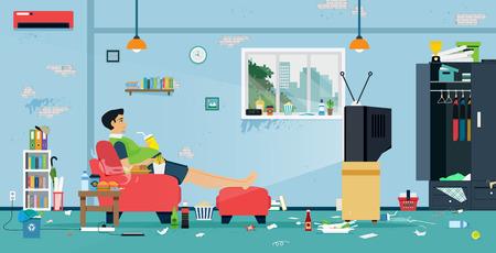 Los hombres gordos están viendo la televisión en una habitación llena de comida y suciedad. Ilustración de vector