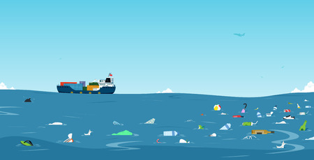 Garbage and plastic bottles that have been dumped into the sea Ilustracja