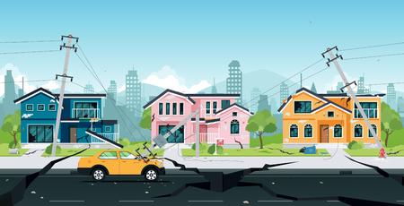 Aardbeving schade aan huizen en elektrische palen in aanvaring met auto's.