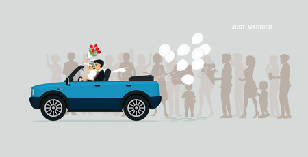 A newly married couple is on a car with a white balloon.