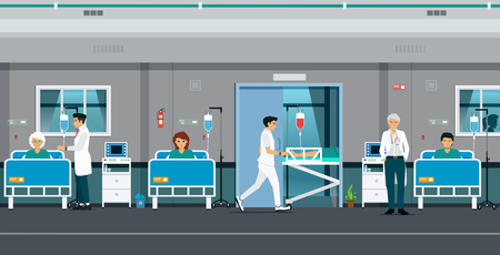 Total patient room with doctors and male nurses. Ilustracja