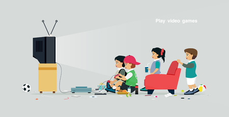Children are playing video games with a gray background.
