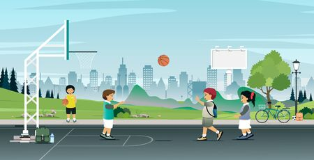Children play basketball with a city in the background.