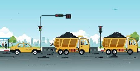 Dump truck drivers make dirt roads with soil. Ilustracja