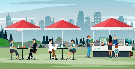 Travailleurs masculins et féminins mangeant dans un café en plein air Vecteurs