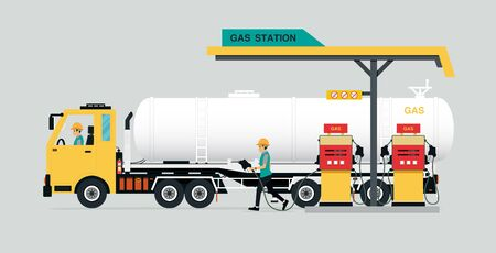 Oil stations with trucks in a gray background