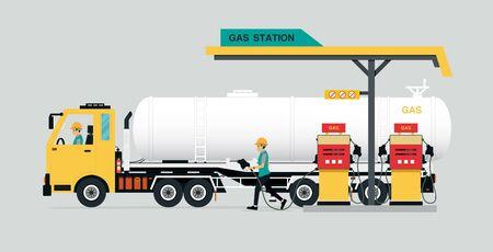 Stations pétrolières avec des camions sur fond gris