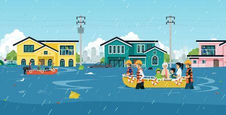 Retter helfen, Menschen aus Überschwemmungsgebieten zu bergen.
