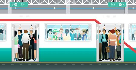The subway train at the door is open and crowded with people.