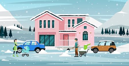The family is cleaning the snow that covers homes and cars.
