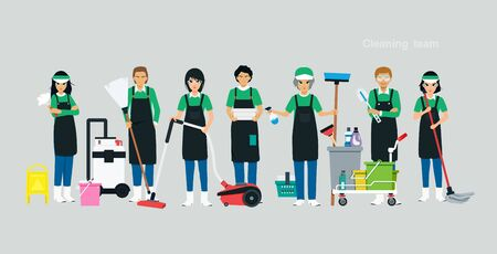 The cleaning team has equipment with a gray background. Ilustracja