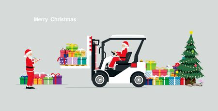 Santa Claus carrying gifts by using a forklift. Ilustrace