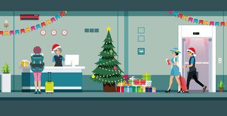 Customer receptionist by decorating the Christmas lobby. Ilustracja