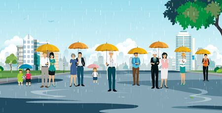 Business people in various occupations standing umbrella