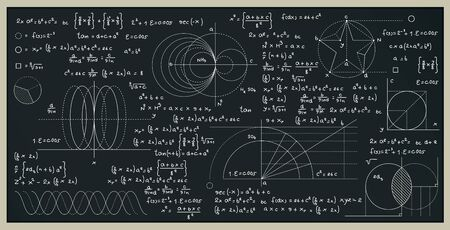 Math and science formulas with numbers on the blackboard. Ilustracja