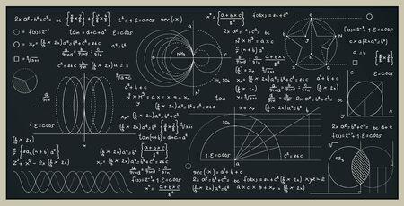 Mathe- und naturwissenschaftliche Formeln mit Zahlen an der Tafel.