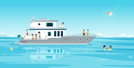 Male and female friends traveling at sea are partying on a yacht. Ilustracja