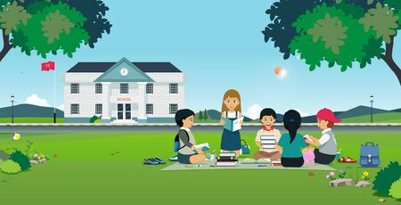 Students sitting and reading books with a school background. Ilustracja