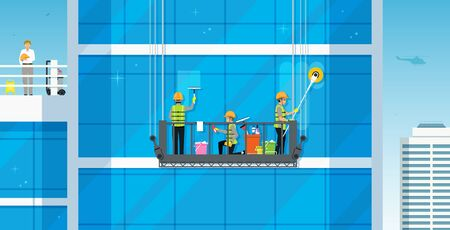 Workers are cleaning the glass building by a safe crane. Ilustracja