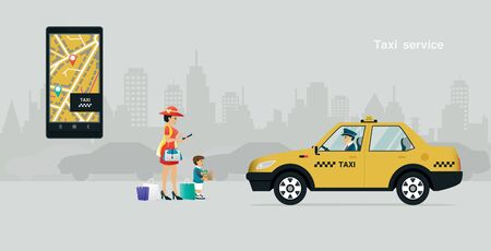 Mother and child calling a taxi through the phone app with a gray background.