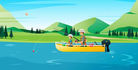 Father and son fishing on a boat with a mountain in the background. Ilustracja