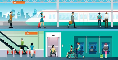 Workers use the electric train station that has an elevator for the disabled.