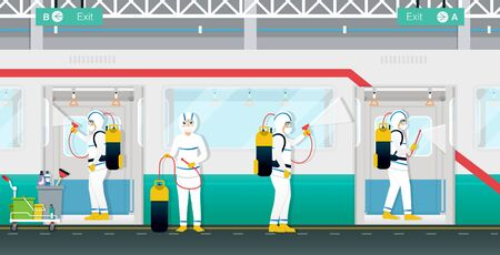 Medical staff are spraying to kill virus and bacteria in the subway.