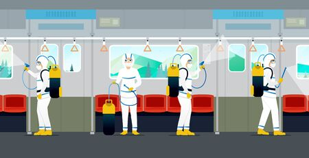 The medical team is spraying to kill viruses and bacteria on the electric train.