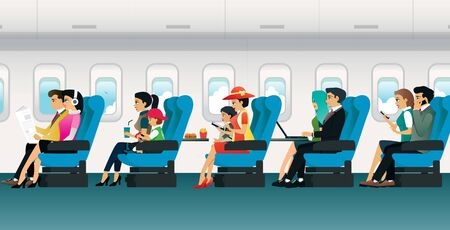Various tourists Sitting on a chair inside the plane. Ilustracja
