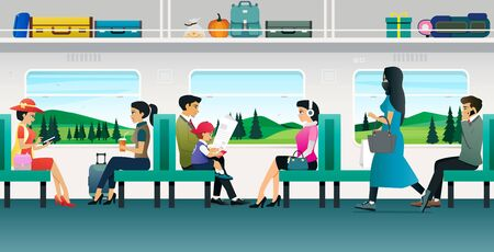 People are traveling by train with a backdrop of mountains.