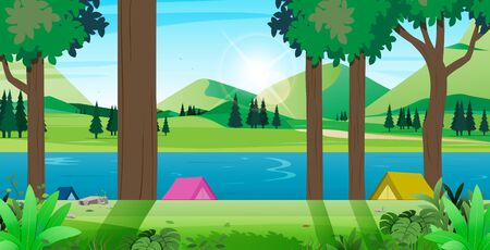 Place for camping tent resting landscape nature. Ilustracja