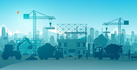 Workers building houses with cranes on construction sites.