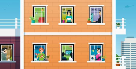 People start working and doing activities at home. Ilustracja