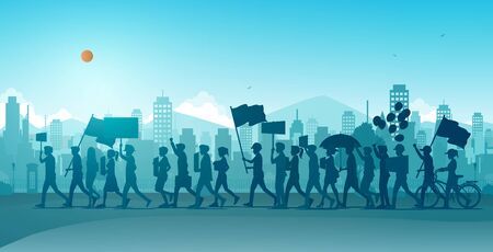 People are mobilizing and protesting on the streets of the city.
