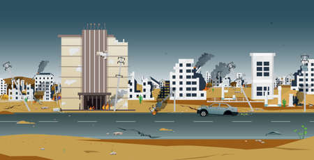 Houses and buildings in the city were destroyed by war. Ilustracja