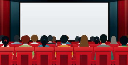Men and women watching movies in cinemas. Ilustracja