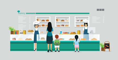 Mother and children are buying a bakery in the shop. Ilustracja