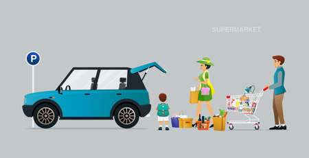 The family is carrying items from the supermarket to the car. Ilustracja