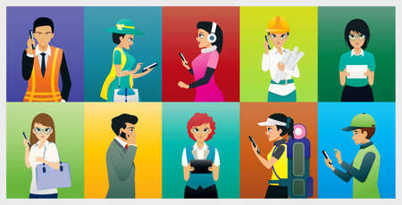 Male and female workers use the telephone to communicate.